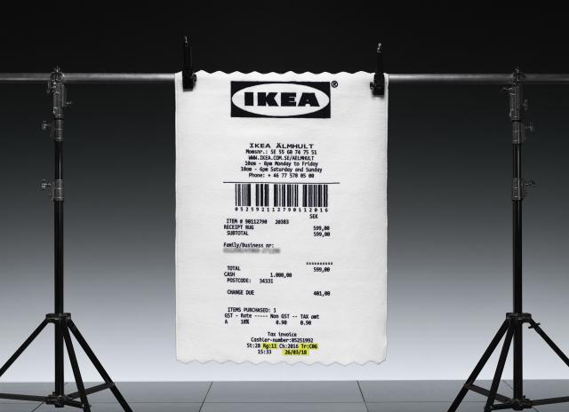 un tapis en ticket de caisse chez ikea