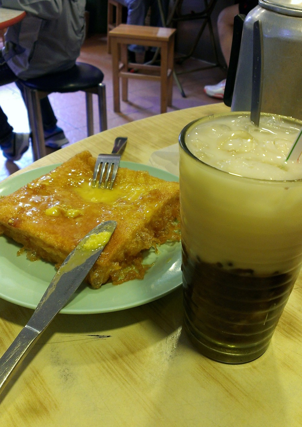 "Pan fired ""French toast' with special red bean drink."