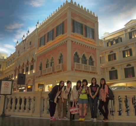 The Venetian Macao decorated as Venice even with the indoor gondola boat ride!