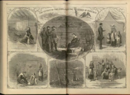 """""""The Effect of the Rebellion on the Homes of Virginia,"""" Harper's Weekly, December 24, 1864. Courtesy of the Hargrett Rare Book and Manuscript Library, University of Georgia, Athens."""