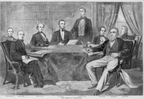 Lincoln and His Team of Rivals: (l-r) Montgomery Blair, Caleb B. Smith, Salmon P. Chase, President Lincoln, William H. Seward, Simon Cameron, Edward Bates, and Gideon Welles. Courtesy of the Library of Congress.