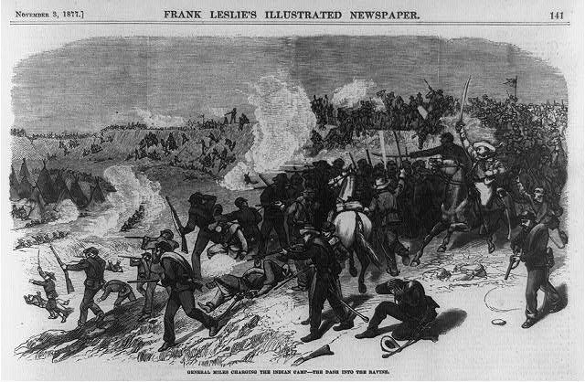 Depiction of battle between Nez Perce and the U.S. Army