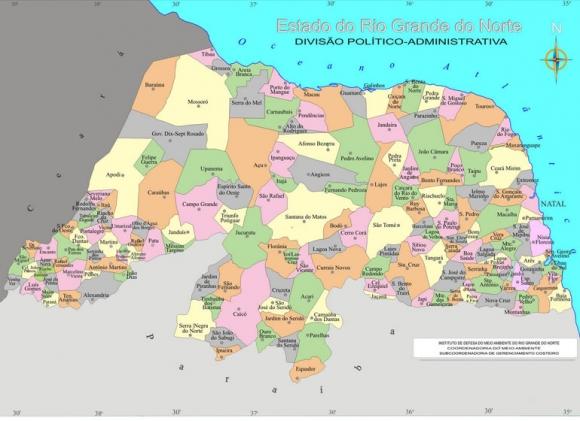 Mapa Político do Rio Grande do Norte