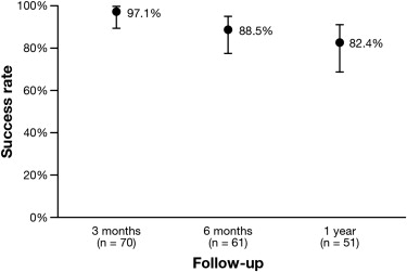 Patients in remission 3 months to 1-year after POEM, with 95% confidence intervals.