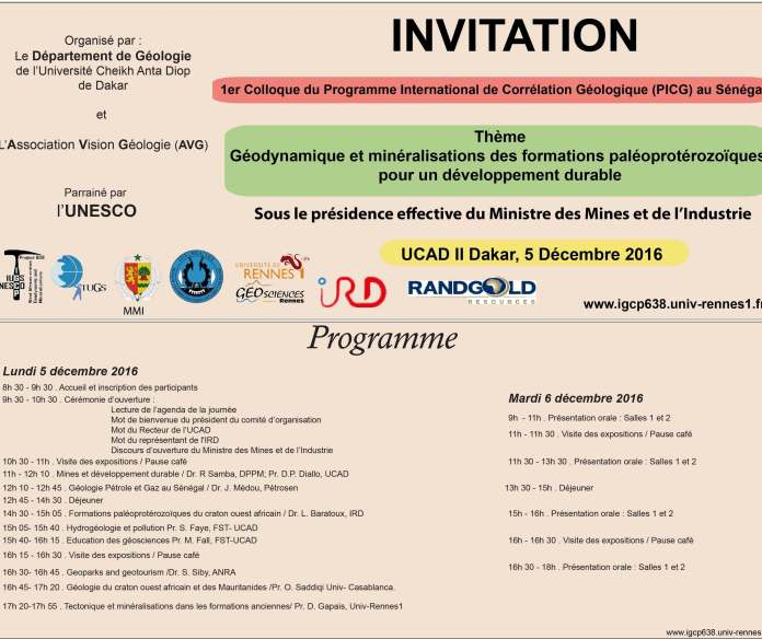 Premier colloque international de géologie du PICG au Sénégal