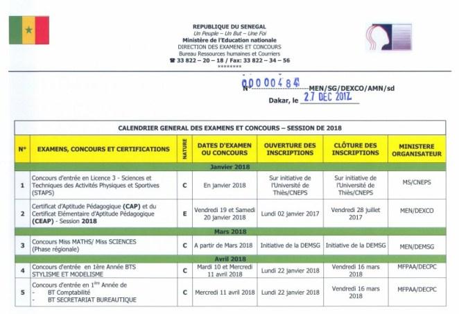Calendrier concours 2018 Sénégal