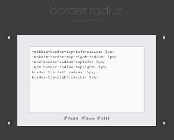 Screenshot from Border Radius CSS Rounded Corners Generator