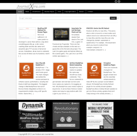 Quick-glance magazine style homepage.
