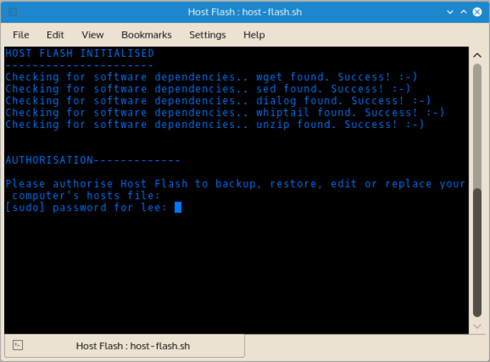 When Host Flash is run, it checks for dependency software and alerts the user if missing dependencies are discovered.