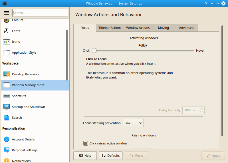 KDE Window Management Screenshot