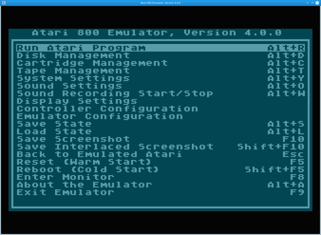 Atari800 Configuration Screen Screenshot
