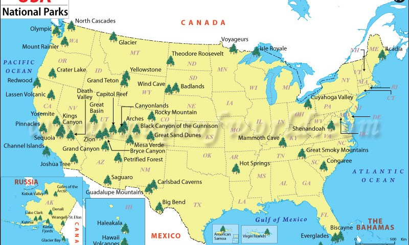 Guide to National Parks - National Park Map