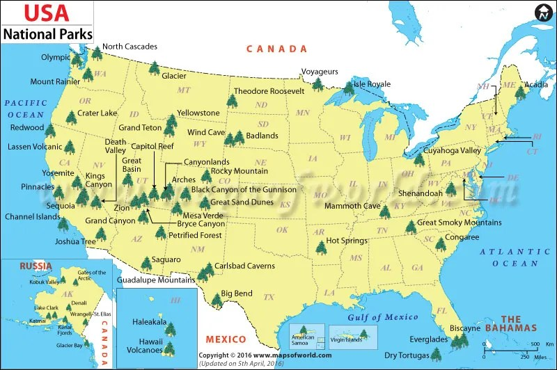 6ce0c-usa-national-park-map Guide to National Parks: A Complete List with Links to Blog Entries and NPS Sites