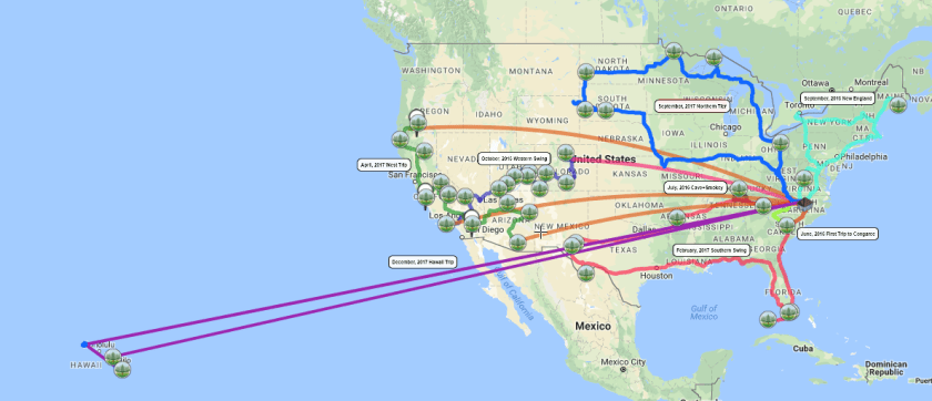 Journey-Map-01-2018 Map of Our Trips to All 59 National Parks