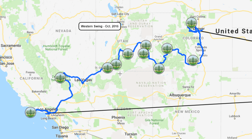 2016-10-Western-Swing-Trip-Map-Close Map of Our Trips to All National Parks