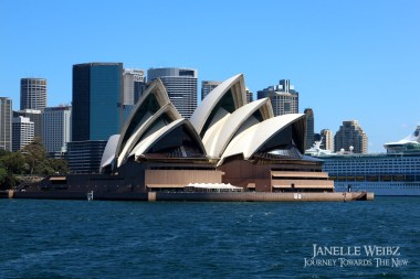 Sydney Opera House with the city behind.