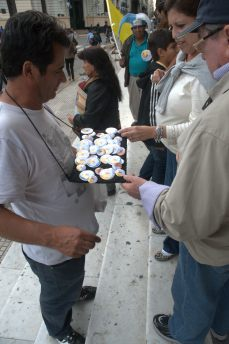 ...and were vendors of buttons with the new Pope's image...
