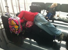 Daddy catching some zzz's at the airport