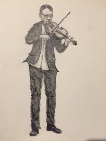Ben's sketch of the violinist, Szymon