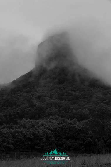 Intrusive Volcanic Plug Covered In Fog In Black And White Monochrome