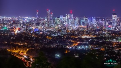 Night Landscape Of Brisbane's Skyline As Seen From Mt Cootha