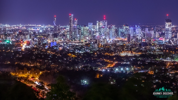 Night Landscape Of Brisbane's Skyline From Mt Cootha