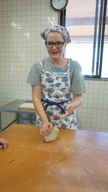 Anna kneading the dough