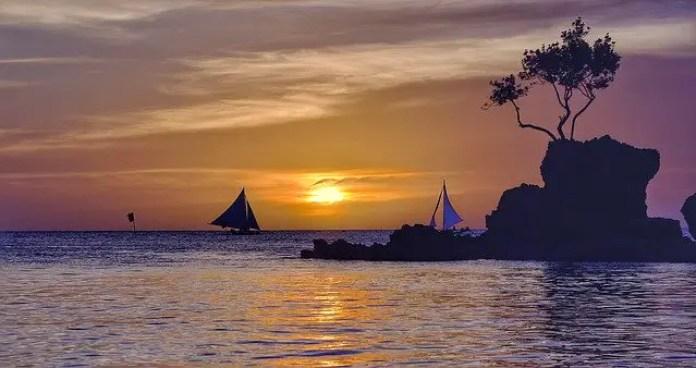The sun setting over Boracay, Philippines