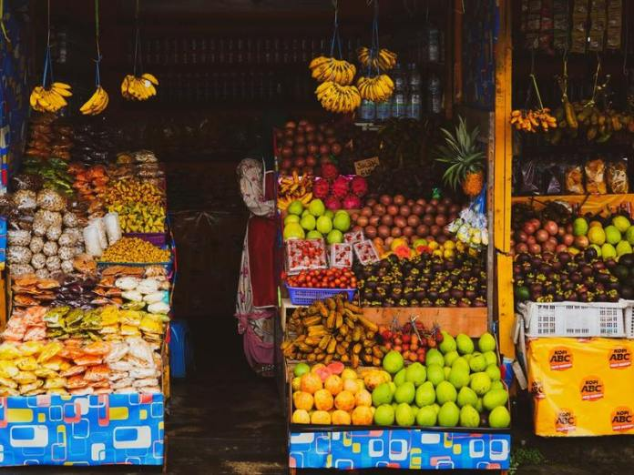Traditional fruit stall in a Balinese market