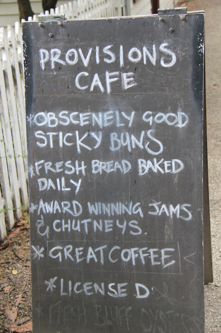 Provisions Cafe menu, Arrowtown