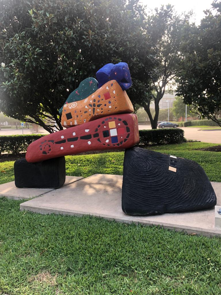 cement based colorfully decorated multishaped sculpture