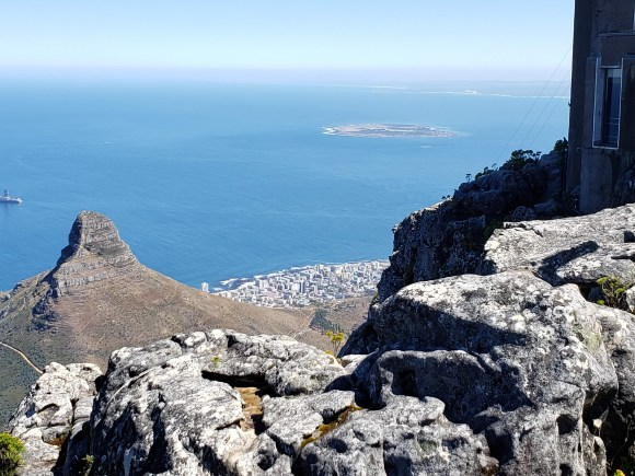Lion's Head, Cape Town, and Robben Island as seen from Table Mountain