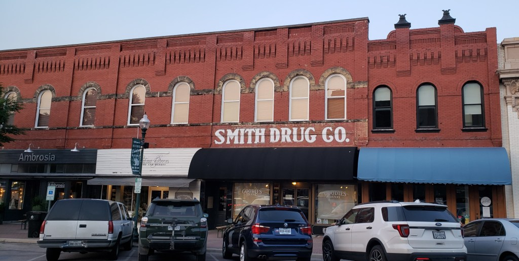 old drug store with original storefront facade
