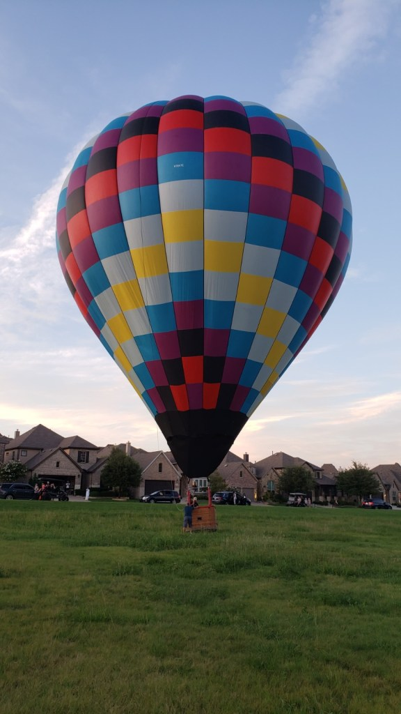 Walking the balloon after our landing