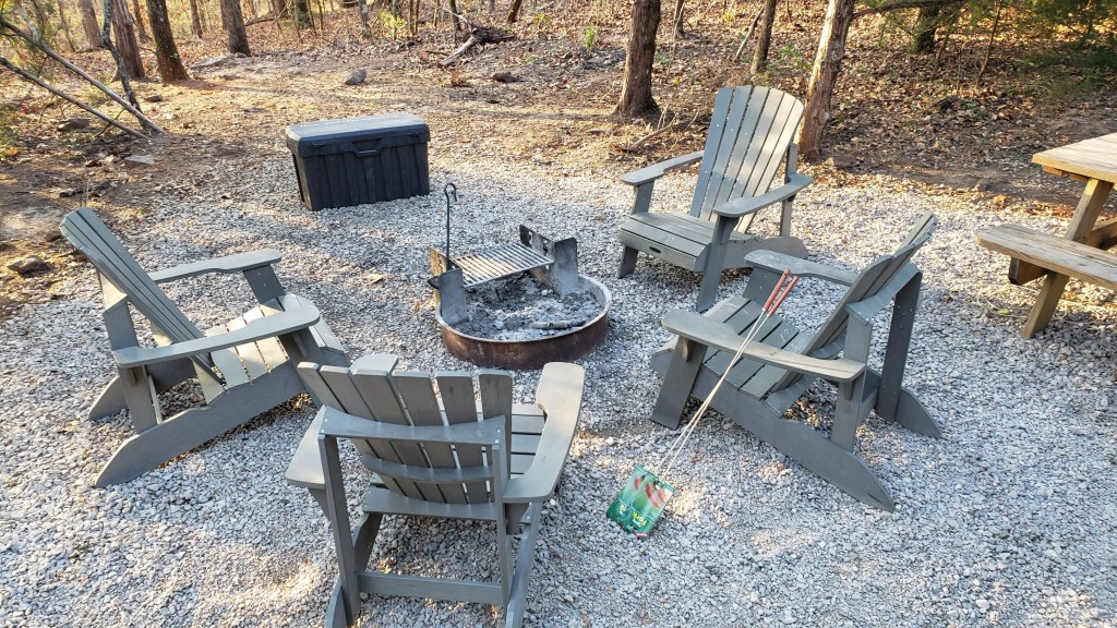Fire pit outside our cabin