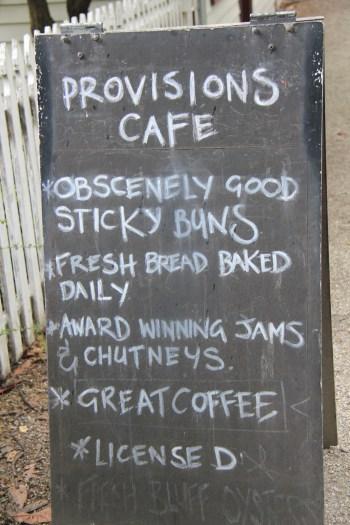 Provisions Cafe menu, Arrowtown