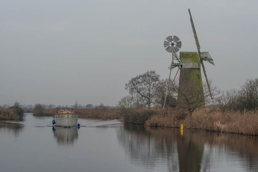 Three windmills in one. How Hill, Norfolk