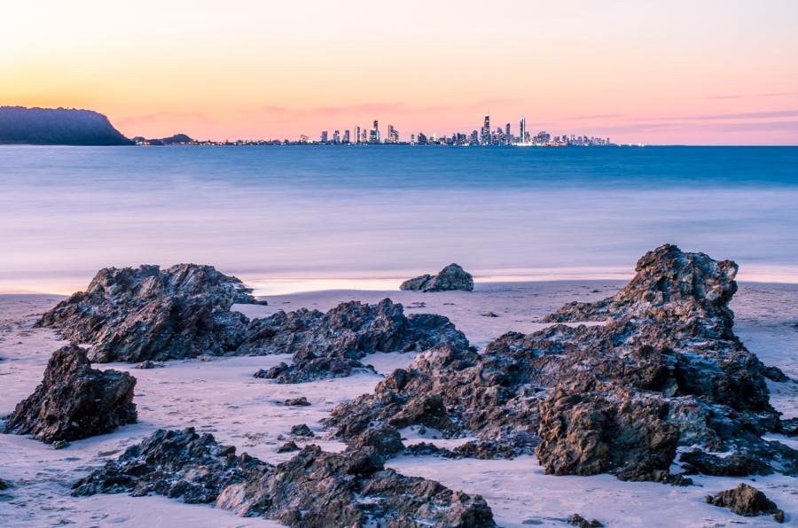 Currumbin rocks at sunset, Gold Coast.