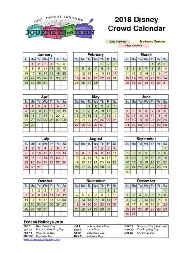 2018 Walt Disney World Crowd Calendar
