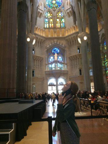 inside of sagrada familia, me with the audio guide