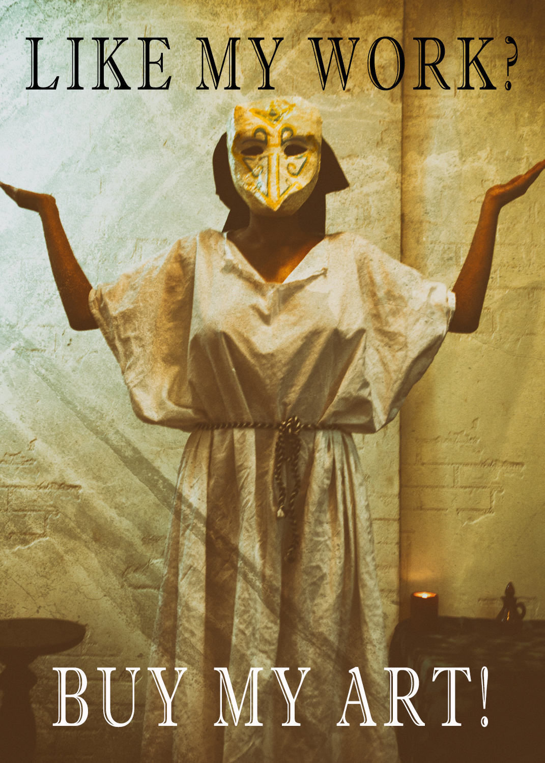 image of woman in a white robe and mask, holding her hands up in the Posture of Air
