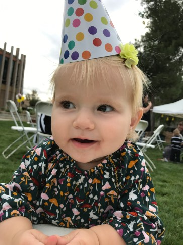 Forgot to put on her birthday hat at her own party, so she made up for it here.