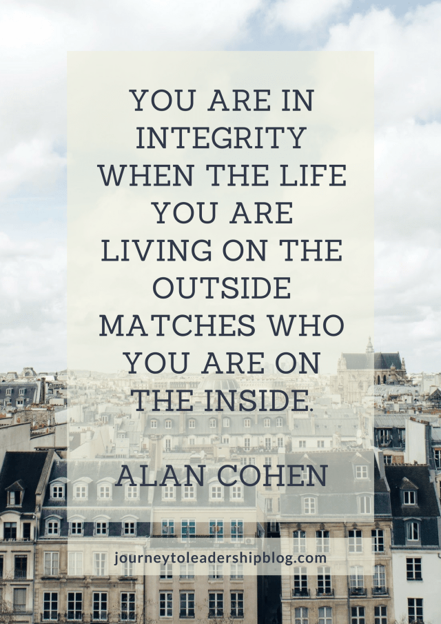 You are in integrity when the life you are living on the outside matches who you are on the inside. Alan Cohen.png