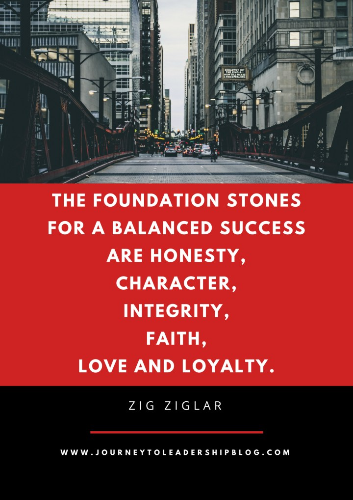 Quote Of The Week #64 The foundation stones for a balanced success are honesty, character, integrity, faith, love and loyalty. - Zig Ziglar #quotes #leadershipquotes #intehrity #loyalty #honesty