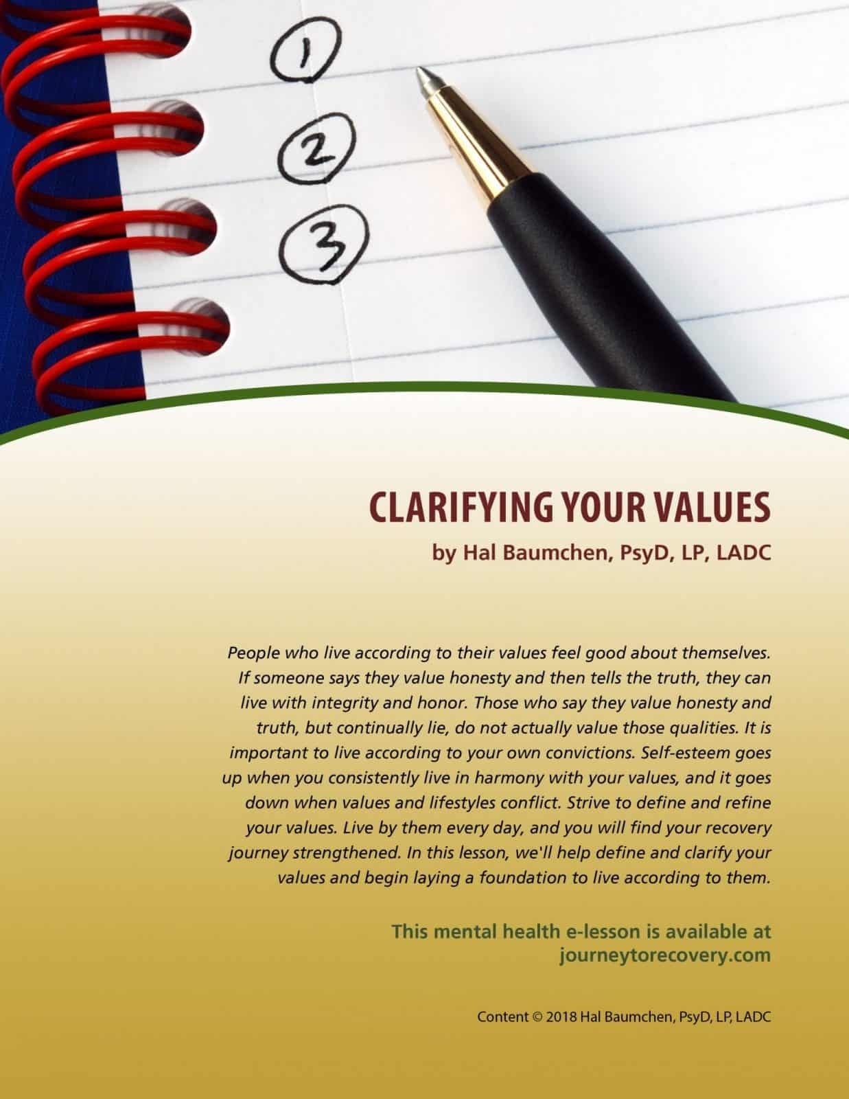 Clarifying Your Values Mh Lesson
