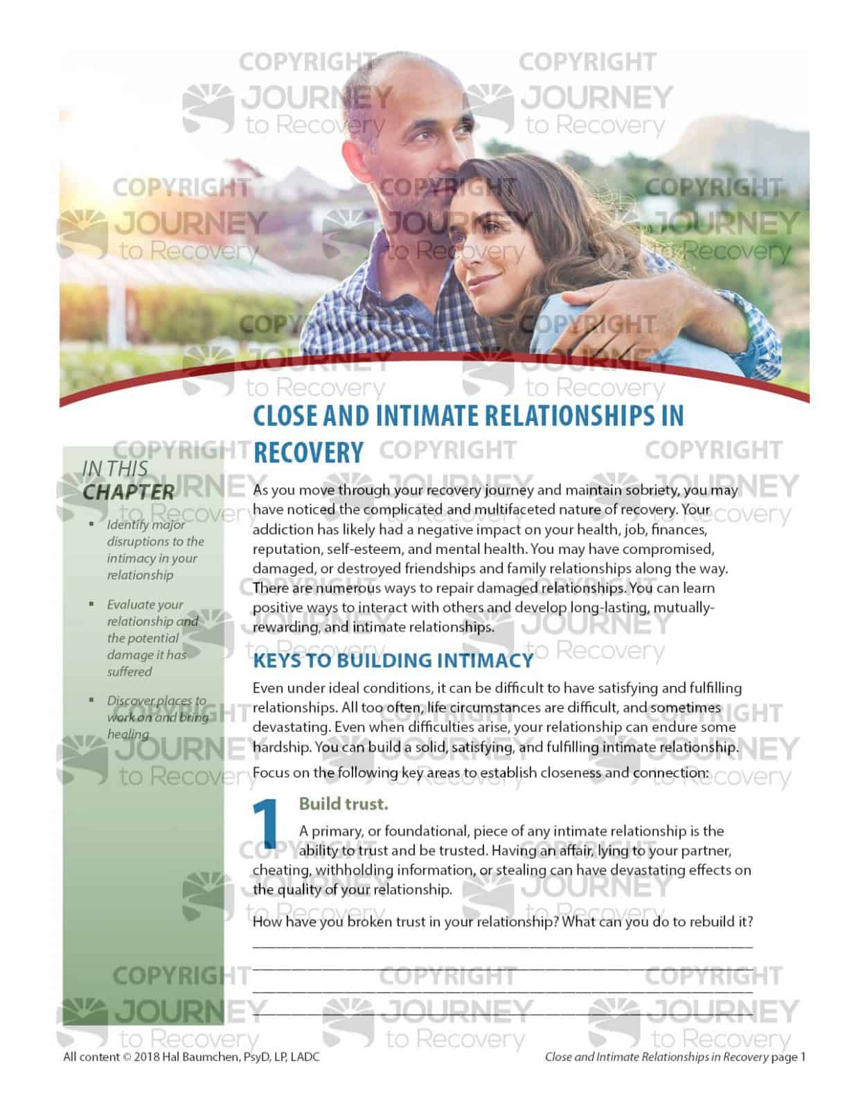 Close And Intimate Relationships In Recovery Cod Lesson