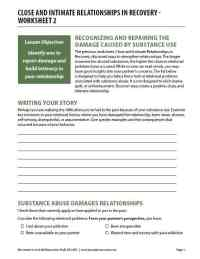 Close and Intimate Relationships in Recovery - Worksheet 2 (COD)