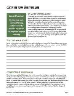 Cultivating Your Spiritual Life (COD Worksheet)