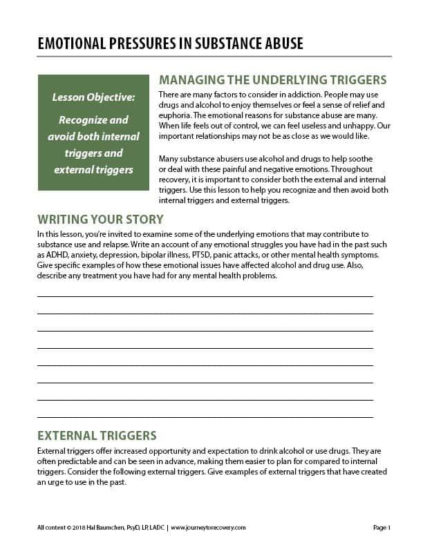 Emotional Pressures in Substance Abuse (COD Worksheet ...