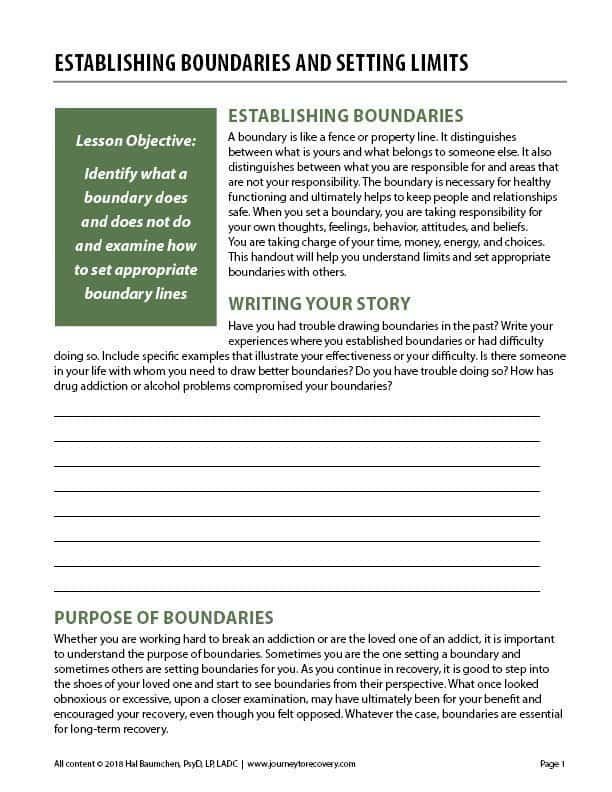 Establishing Boundaries and Setting Limits (COD Worksheet) | Journey to  Recovery